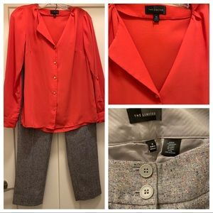 2 Pcs from The Limited XS Blouse Sz 4 Wool Pants